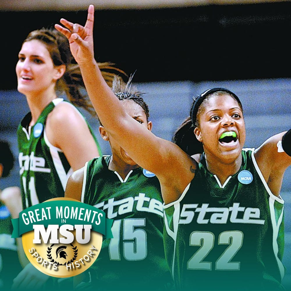 Then-junior forward Aisha Jefferson, right, celebrates the Spartans' comeback win against Middle Tennessee State University during the first round of the NCAA Championship game Mar. 22, 2009. The Spartans won, 60-59. State News file photo. Design by Daena Faustino.
