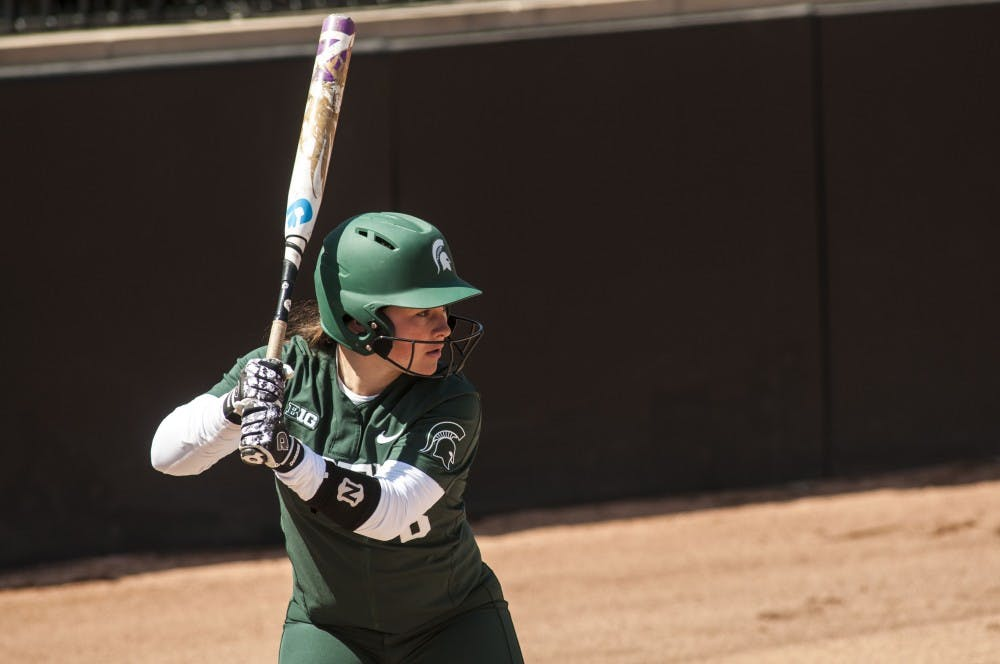 Junior third-baseman Kaitlyn Eveland (8) goes up to bat during the game against Minnesota on April 8, 2018 at Secchia Stadium. The Vikings defeated the Spartans, 6-2. (Annie Barker | State News)