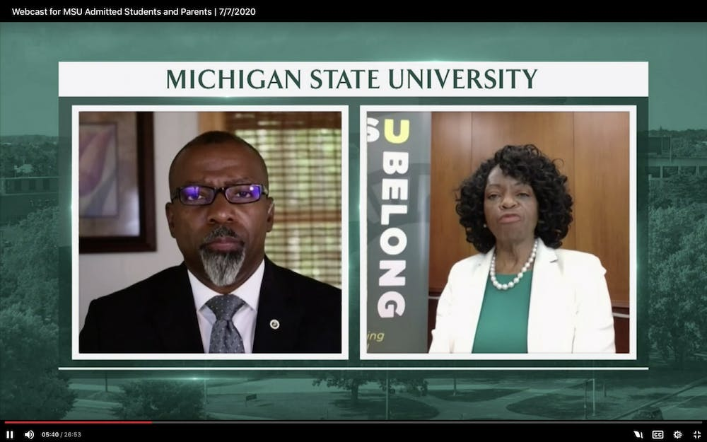 <p>MSU Professor of Strategic Communications Shawn Turner and Associate Provost for Student Affairs and Services Denise Maybank during a webinar July 7, 2020. </p>