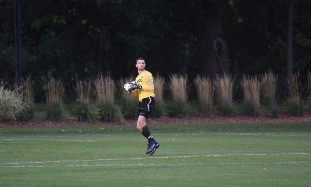 <p>Redshirt sophomore goalkeeper Hunter Morse (1) gets ready to throw the ball back into play during their home game against Penn State. The Spartans fell to the Nittany Lions 3-0 on Oct. 1 at DeMartin Stadium.</p>