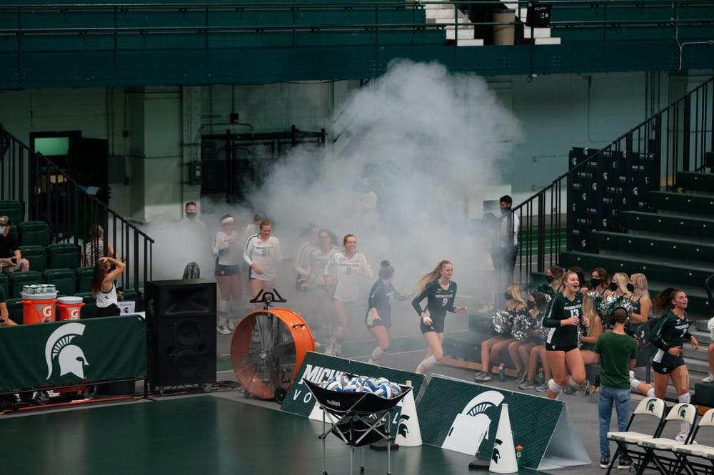 <p>The MSU Volleyball team kicked off their season with the Green versus White scrimmage on Aug. 21, 2021.</p>