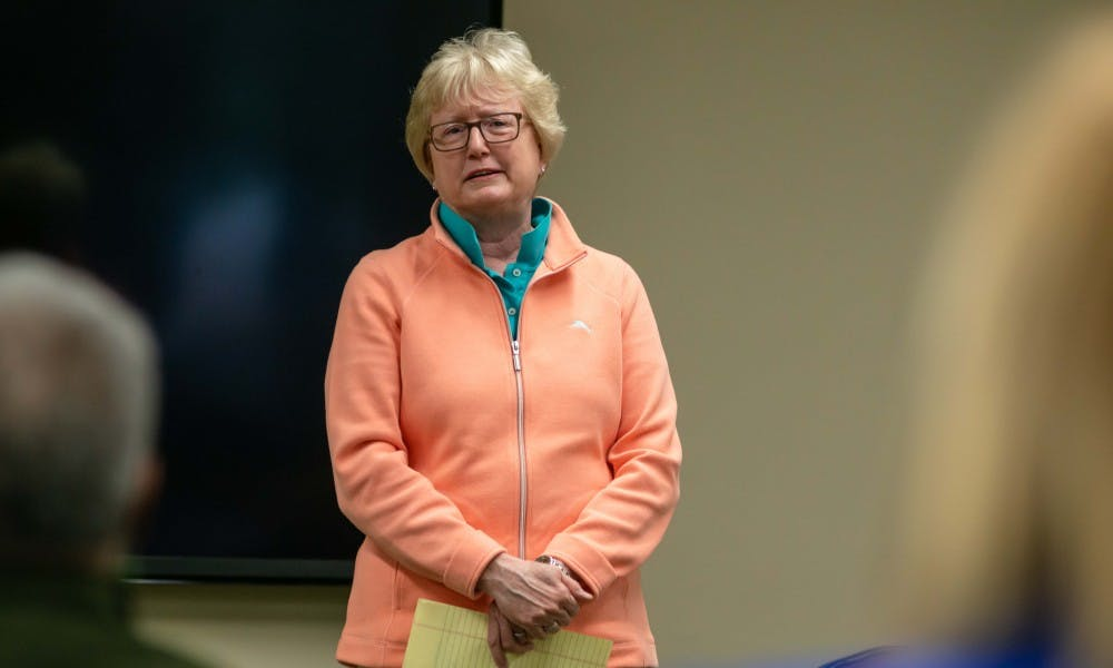 MSU trustee Nancy Schlichting speaks about her experiences as a member of the LGBTQ community at the MSU Union on April 10, 2019.