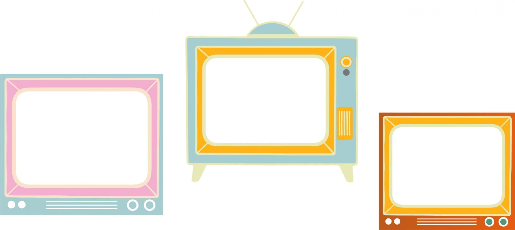 An illustration of three television sets.