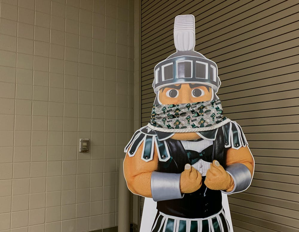<p>Sparty seen with a face mask. </p>