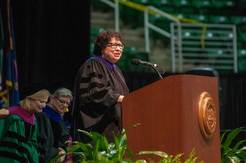 Associate Justice Sonia Sotomayor talks about her life path at the MSU Academic Welcome on Aug. 27, 2018.