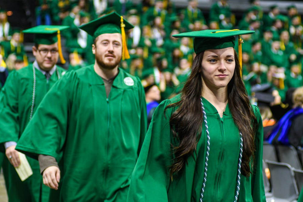 A moment from the Fall 2019 Commencement ceremony at Breslin Center on Dec. 14, 2019.