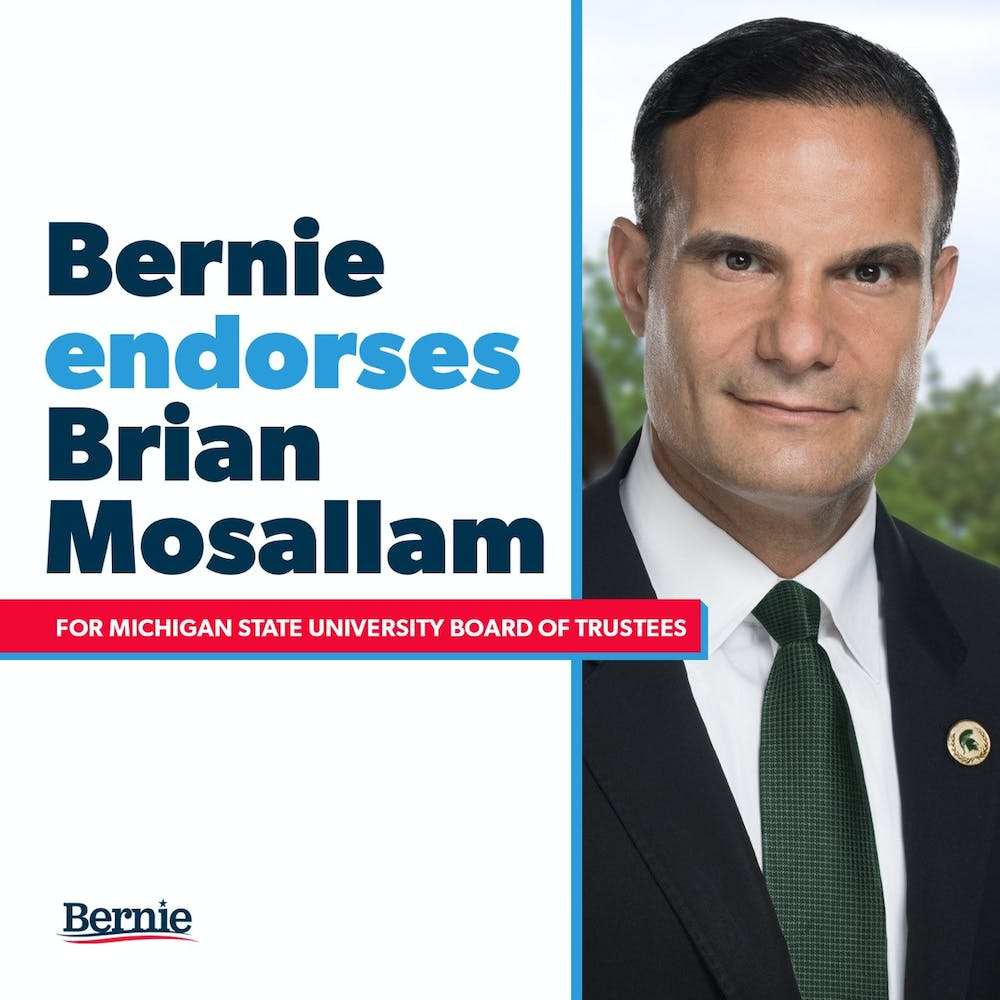 The photo Brian Mosallam shared on Twitter, showing Bernie Sanders endorsed him for the 2020 Board of Trustees election.