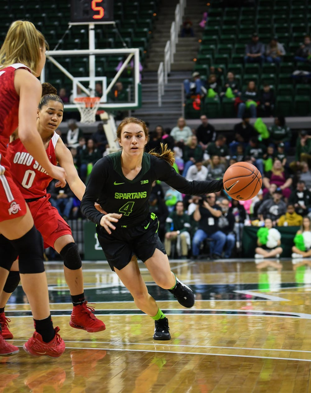 <p>Senior guard Taryn McCutcheon (4) during the women&#x27;s basketball game against Ohio State on Jan. 16, 2019. The Spartans defeated the Buckeyes 68-65. </p>
