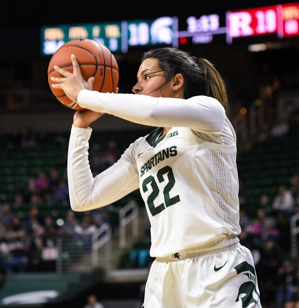 <p>Freshman guard Moira Joiner attempts a three point shot during the women&#x27;s basketball game against Rutgers at the Breslin Center on Feb. 13, 2020. The Spartans ended a five-game losing streak and defeated the Scarlet Knights 57-53. </p>