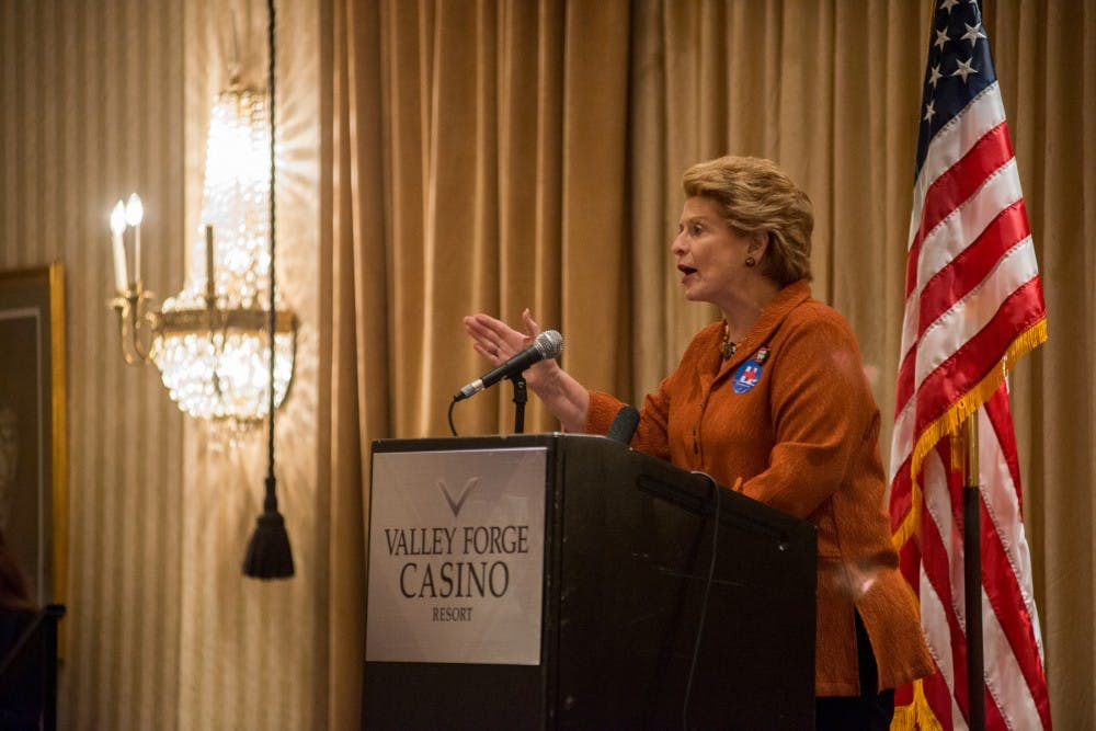 Sen. Debbie Stabenow, D-Mich., gives a speech on July 26, 2016, the second day of the Democratic National Convention, at Valley Forge Casino Resort in King of Prussia, Pa.