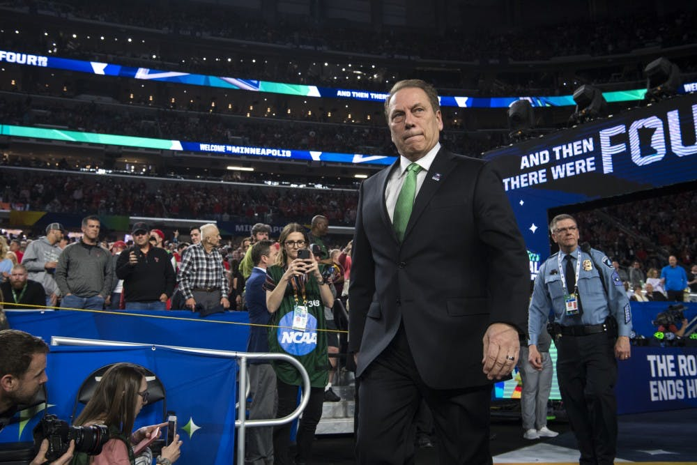 Michigan State head coach Tom Izzo walks to the court before the first half of the NCAA Final Four game against Texas Tech at U.S. Bank Stadium in Minneapolis on April 6, 2019. The Spartans lost to the Red Raiders 61-51.  (Nic Antaya/The State News)