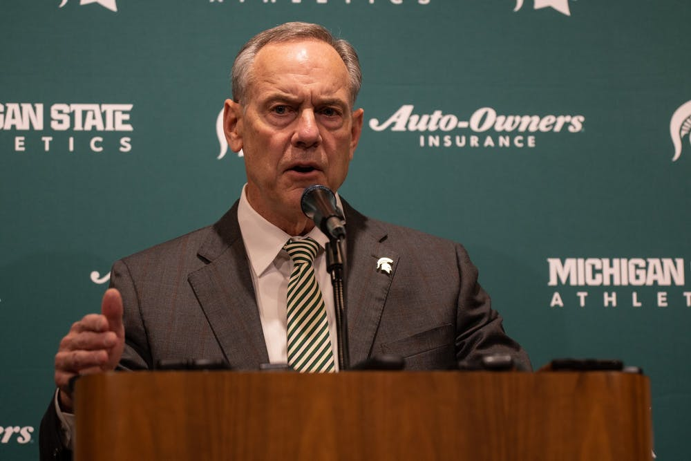 <p>Mark Dantonio speaking during a retirement press conference at the Breslin Center on Feb. 4, 2020.</p>