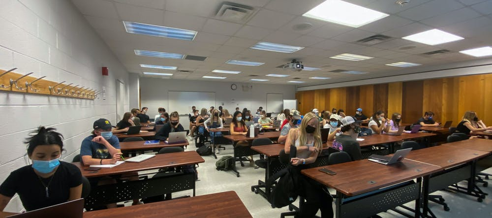 <p>Predominantly freshman course &quot;Creative Thinking&quot; being held in Michigan State&#x27;s Natural Resources building on Sept. 7, 2021.</p>