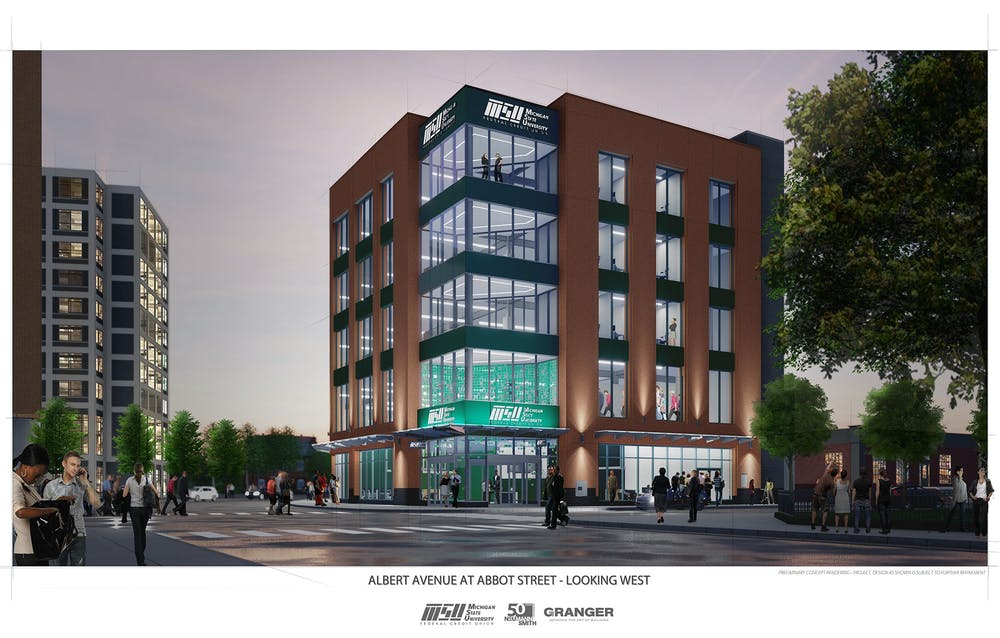 Rendering of the proposed MSUFCU branch and innovation building. COURTESY OF CITY OF EAST LANSING