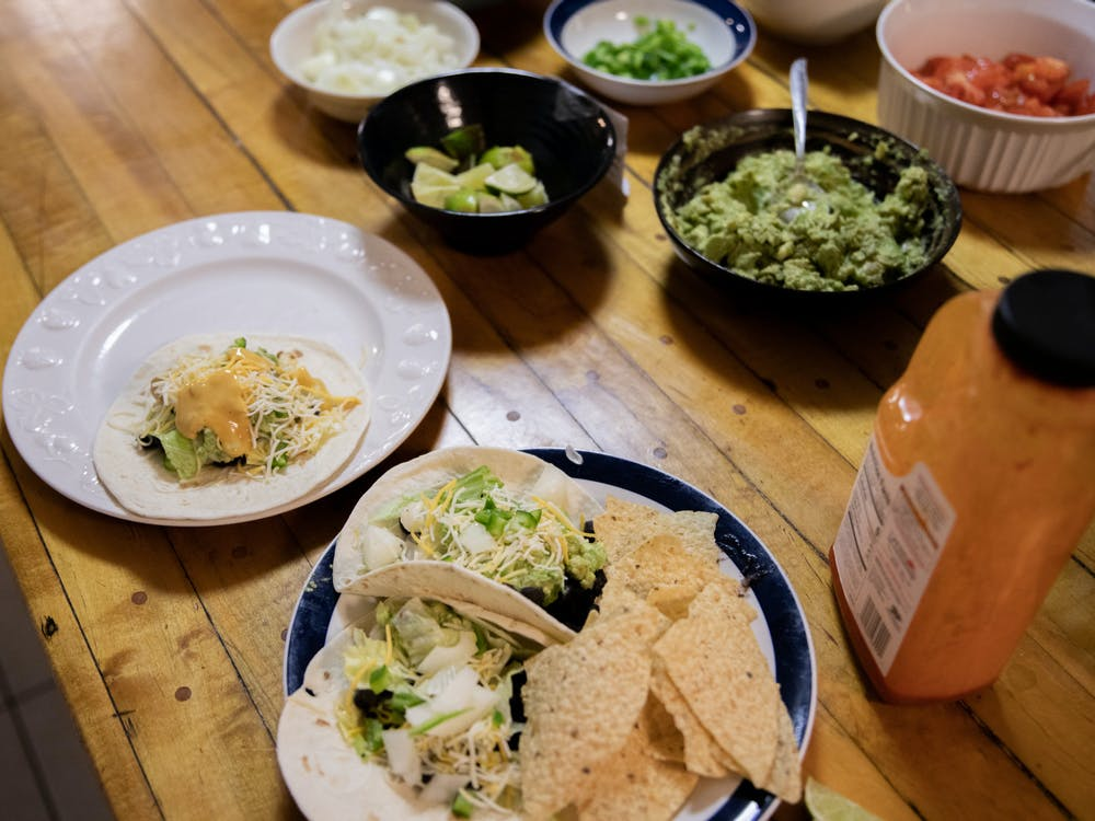 <p>A build your own taco bar at Orion House, a house that operates within the Spartan Housing Cooperative (SHC), on Tuesday, Sept. 28, 2021.</p>