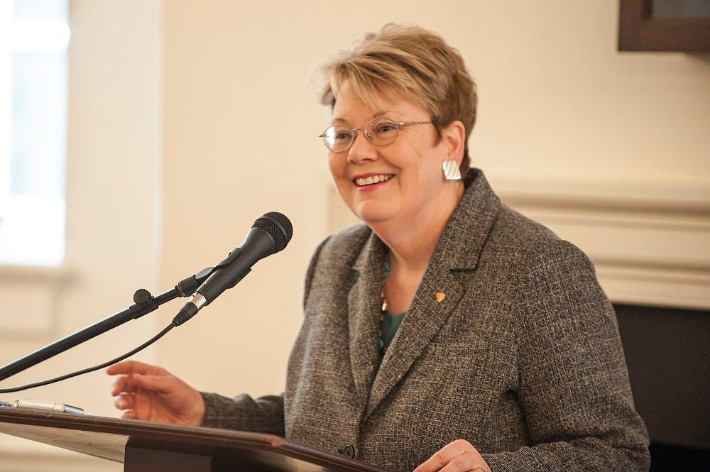 <p>Teresa Sullivan addresses the Virginia Senate Finance Committee on April 1, 2014 in Richmond, Virginia. Photo Credit: Marshall Bronfin</p>