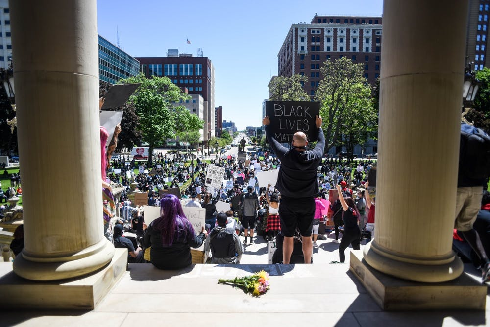 The crowd at the protest in Lansing against police brutality May 31, 2020.