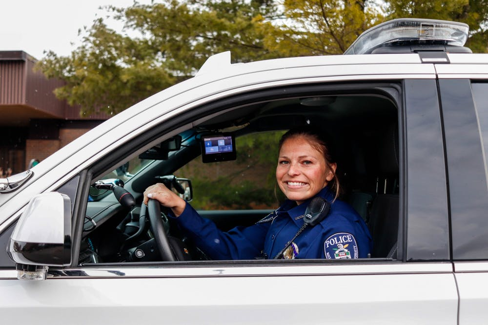 MSUPD Officer Jamie Izen poses for a portrait on Feb. 25, 2020.