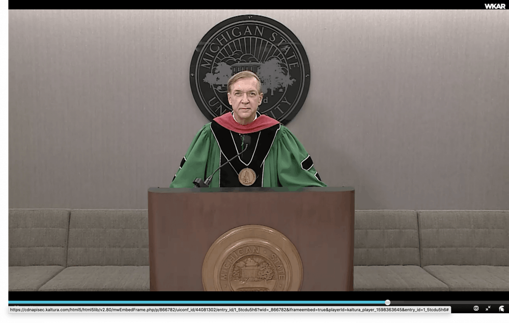 <p>A screenshot of President Samuel L. Stanley Jr. at fall 2020 convocation.</p>