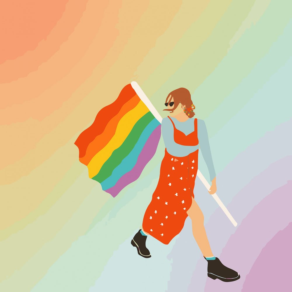 <p>Illustration of a woman holding an LGBTQ+ flag.</p>