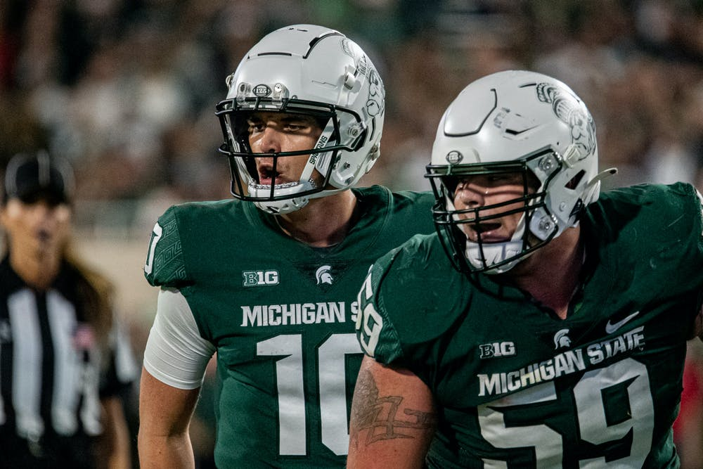 <p>Redshirt sophomore quarterback Payton Thorne calls a play during the Spartans&#x27; 48-31 homecoming win against Western Kentucky on Oct. 2, 2021.</p>
