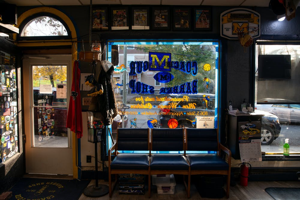 Entrance of Coach and Four, a barber shop in Ann Arbor, MI on Oct. 31, 2020.