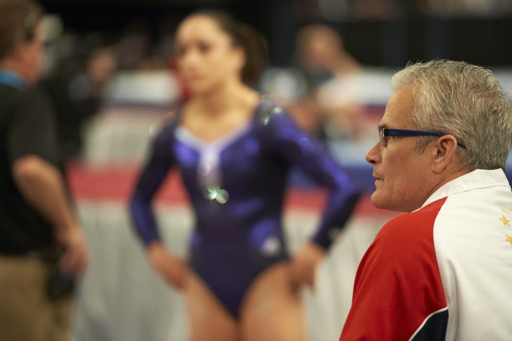 <p>Gymnastics: AT&amp;T American Cup: USA coach John Geddert during Women&#x27;s competition at Madison Square Garden.</p><p>New York, NY 3/3/2012</p><p>CREDIT: Al Tielemans (Photo by Al Tielemans /Sports Illustrated via Getty Images)</p>