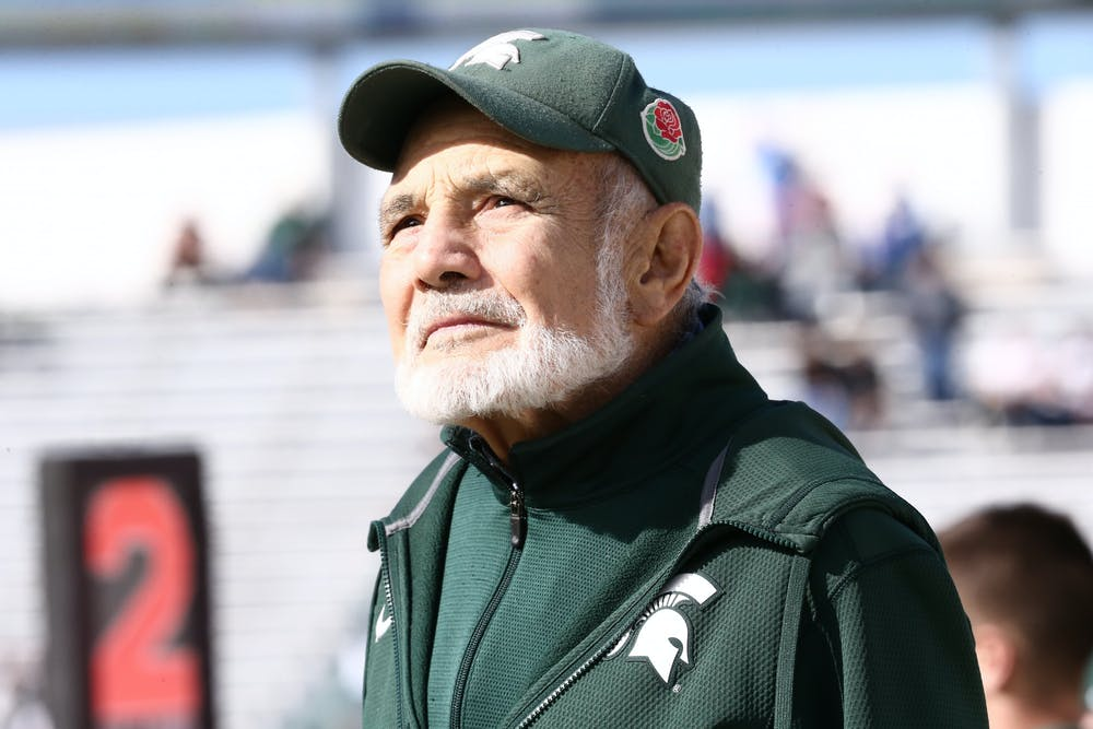 Father Jake Foglio at the football spring game on April 1, 2017. Photo Courtesy of MSU Athletic Communications.