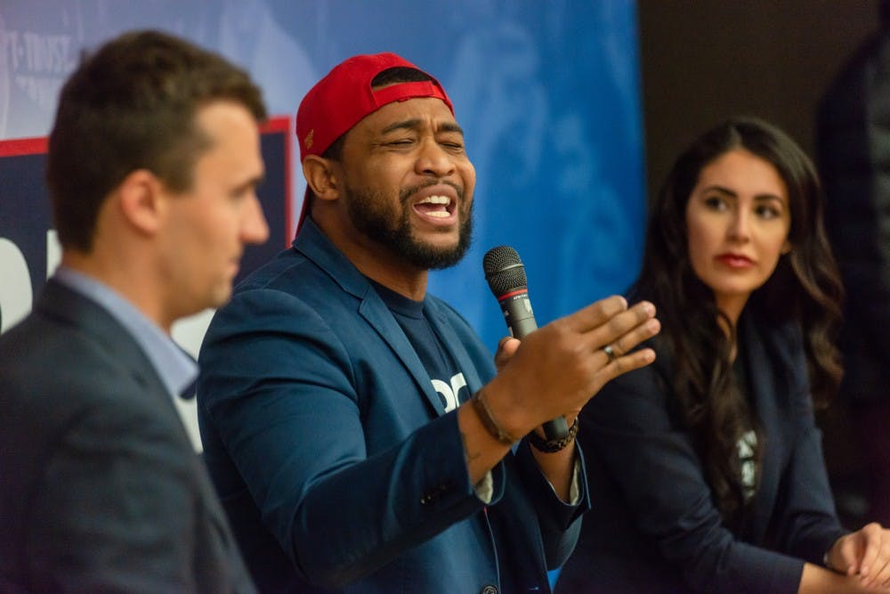 <p>Turning Point USA founder Charlie Kirk is joined by commentators Brandon Tatum and Anna Paulina. Turning Point USA hosted the Michigan State stop of its Campus Clash tour at the Natural Science Building on April 16, 2019.</p>