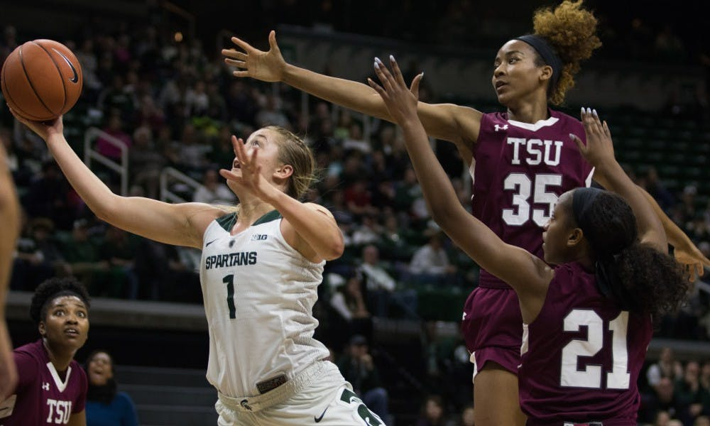 Freshman guard Tory Ozment (1) takes a shot during the game against Texas Southern University at Breslin Center on Dec. 2, 2018. The Spartans defeated the Tigers, 91-45.