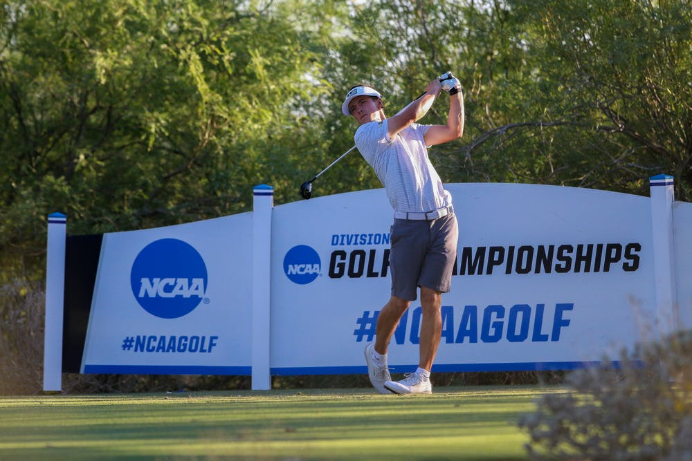 <p>James Piot tees off at the NCAA Championship at Grayhawk Golf Course in Scottsdale, Arizona. - Courtesy of Spartan Athletics </p>