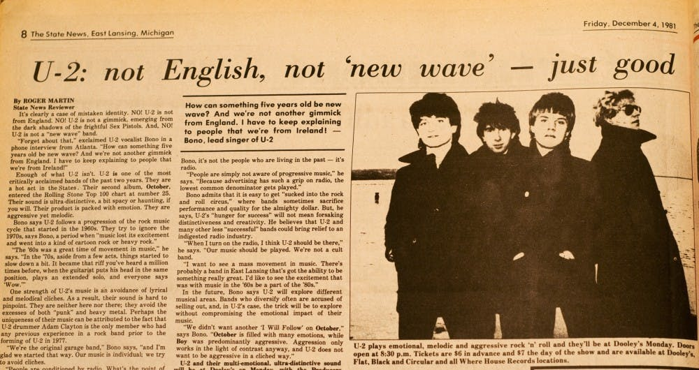 <p>An archived edition of the State News previews U2&#8217;s first East Lansing appearance on December 7, 1981. U2 has not returned to East Lansing since that day, but will bring their show to Spartan Stadium on Sunday.</p>