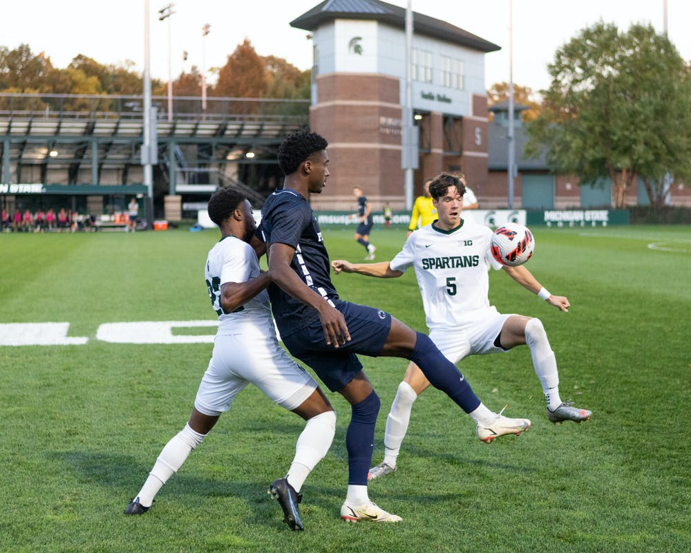 <p>Sophomore Midfielder Zack Zugay and Redshirt Junior Defender Will Perkins in a brief scuffle with a Pennsylvania State soccer player.</p>