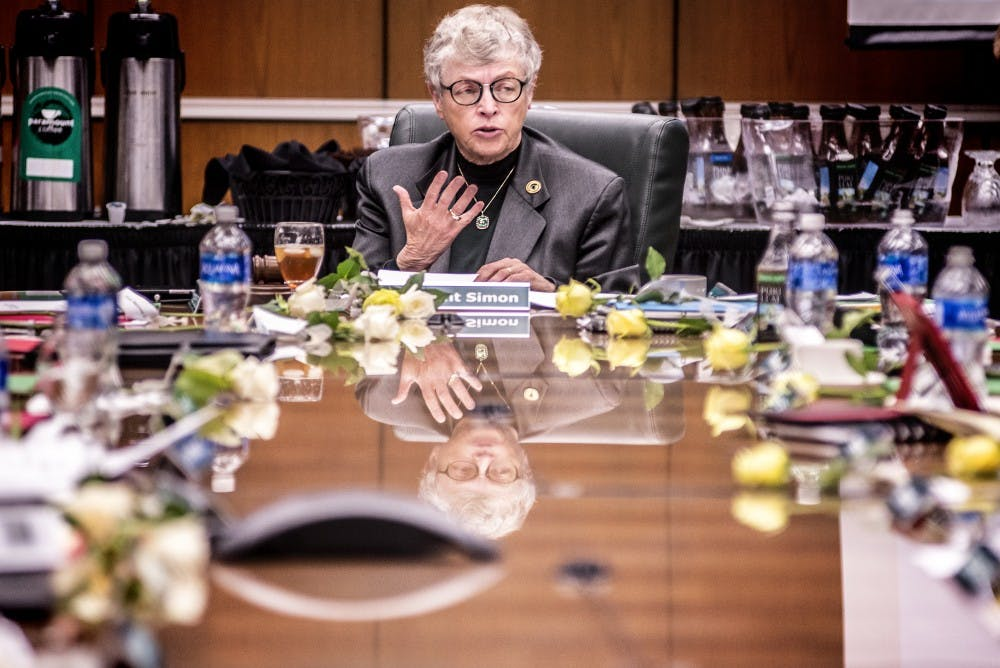 President Lou Anna K. Simon speaks as the MSU Board of Trustees meet on Sept. 8, 2017 at Hannah Administration Building. The next meeting will be on Oct. 27.