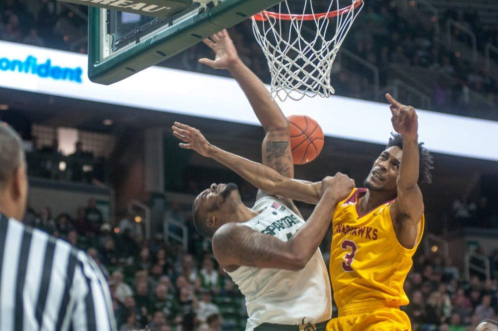 Junior forward Nick Ward (44) shoots the ball during the game against University of Louisiana-Monroe at Breslin Center on Nov. 14, 2018. The Spartans lead the Warhawks at halftime, 35-29.