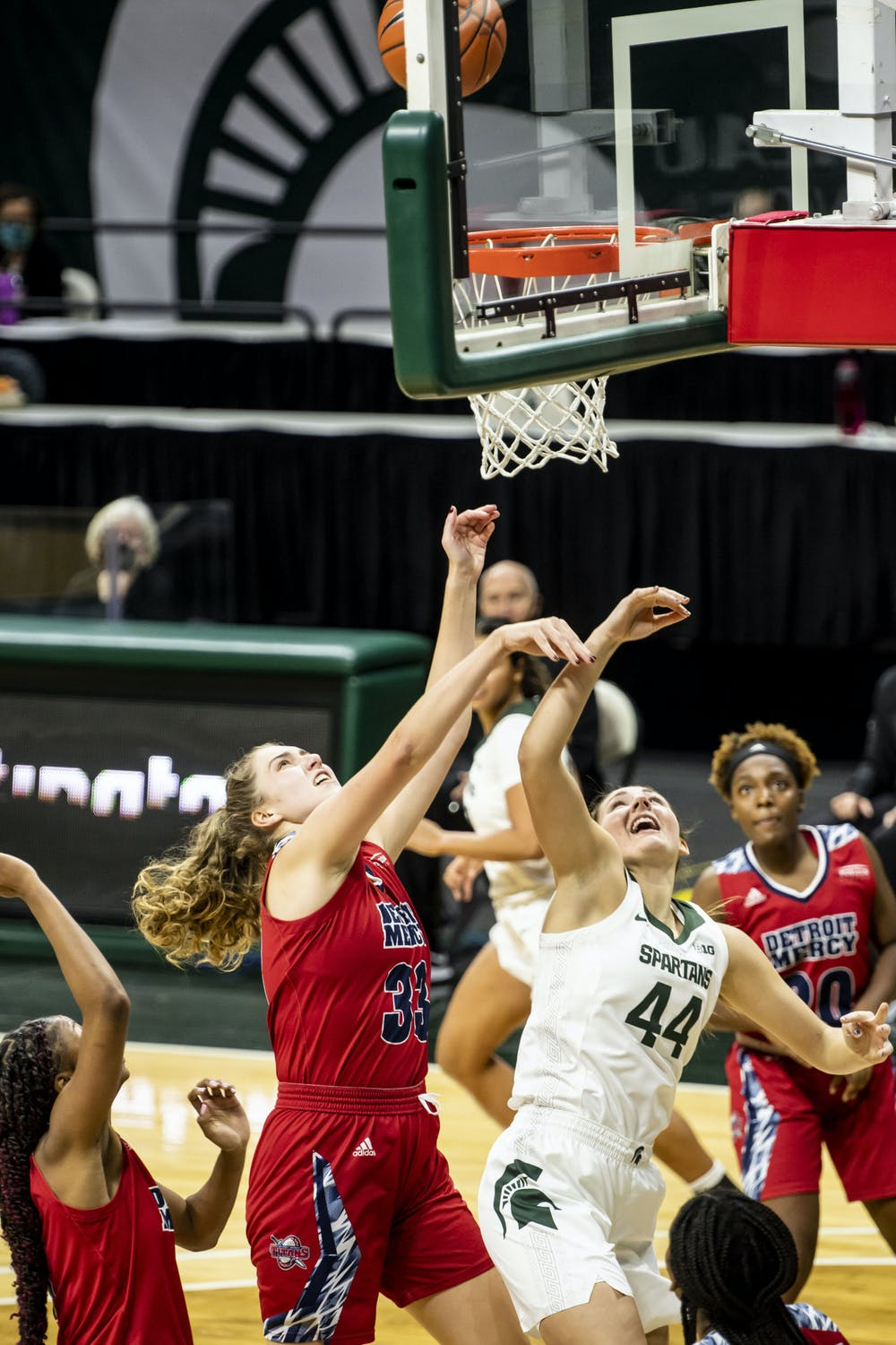 <p>MSU women&#x27;s basketball goes up against Detroit Mercy in their second game of the season Dec. 2, 2020.</p>
