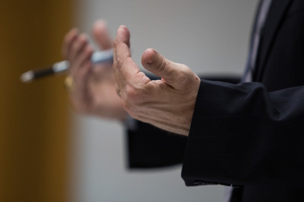 Assistant Attorney General Scott Teter objects during a preliminary hearing at Eaton County District Court April 16, 2019. Simon is charged with four counts of lying to a peace officer, including two felonies.