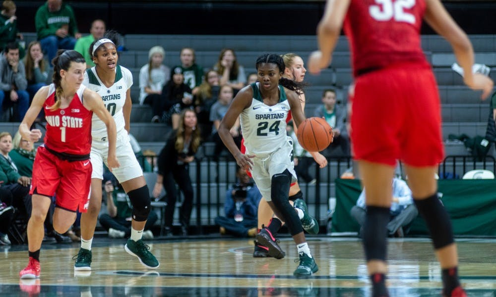 Freshman guard Nia Clouden (24) carries the ball up the court against Ohio State. The Spartans lost to the Buckeyes, 70-77, on Feb. 21, 2019 at the Breslin Center.