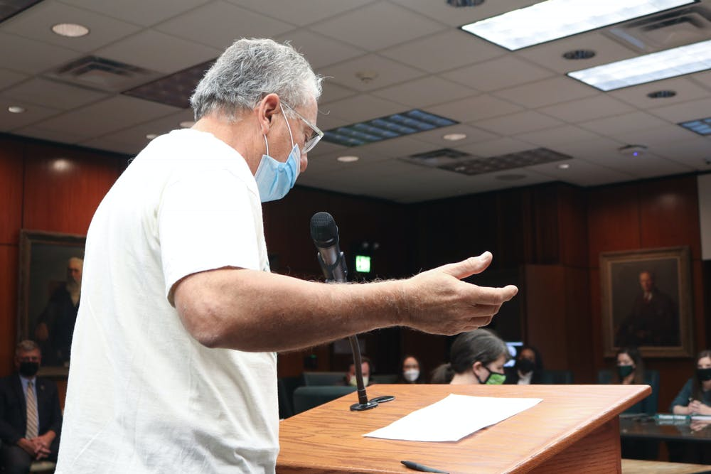 <p>MSU Alumnus David Martin addresses the board with concerns about racism on campus.</p>