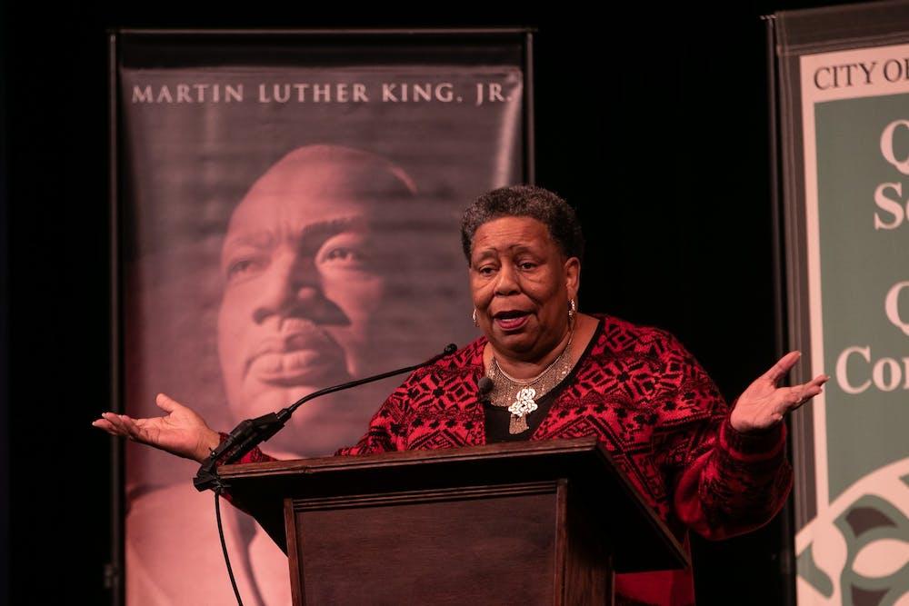 Joanne Bland speaks at the Hannah Community Center Feb. 11, 2020.