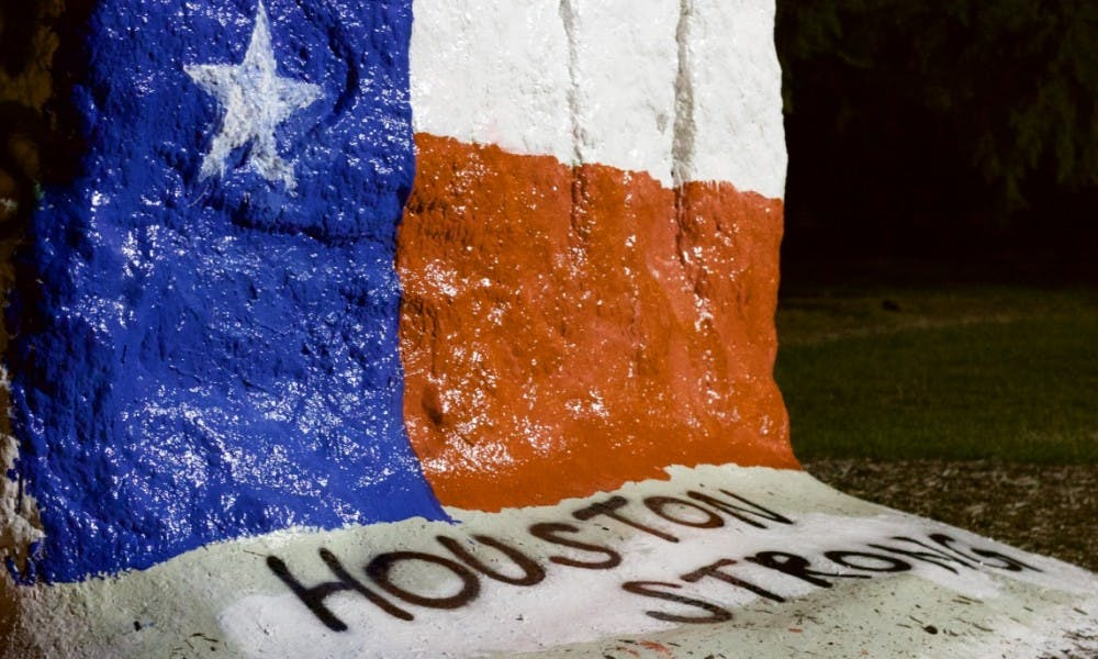<p>Pictured on Aug. 30, 2017 in front of MSU Auditorium is the final result of the Rock after being painted in solidarity with victims of hurricane Harvey.&nbsp;</p>
