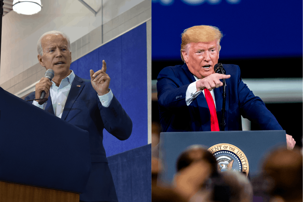 <p>Former Vice President Joe Biden speaks at a rally for Democratic congressional candidate Elissa Slotkin on Nov. 1, 2018 (left) and President Donald Trump gives remarks at Dana Incorporated in Warren, MI on Jan. 30, 2020 (right).</p>