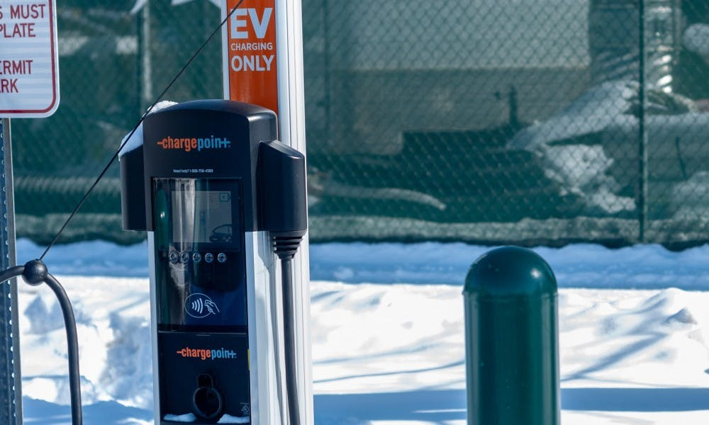 Two new electric vehicle charging stations in the south lot of Spartan Stadium.
