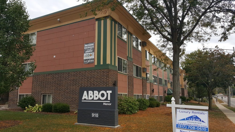 The exterior of Abbot Manor apartments, located north of campus on Abbot Rd.