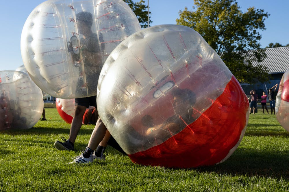 <p>MSU students playing bubble soccer/knocker ball at Munn Field. The event was put on by the University Activities Board, or UAB on Sept. 16, 2021.</p>
