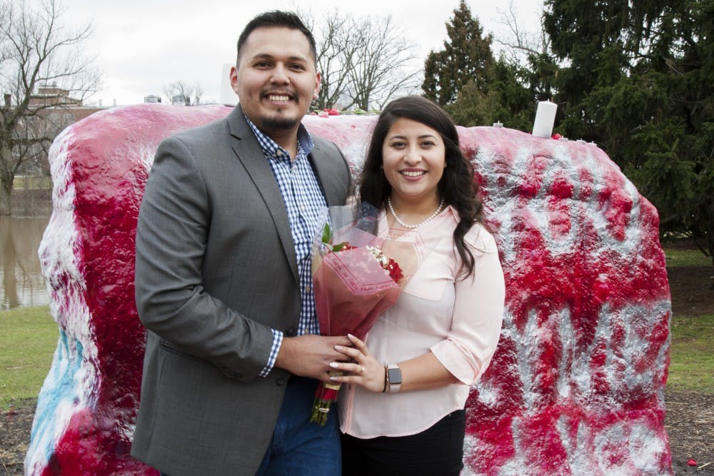 """<p>Austin, Texas residents and MSU alumni, Gerardo Garcia, left, and Christian Recéndiz pose for a portrait on Feb 21, 2018 at The Rock. """"We were just really close friends and then that's how it started."""" Christian said about their relationship.</p>"""