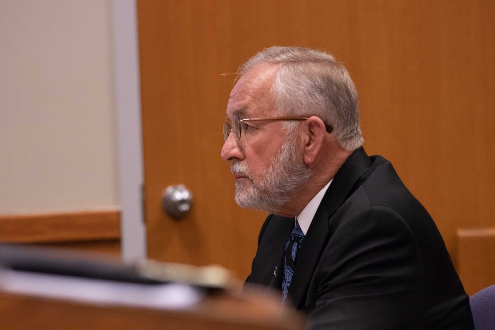 Former MSU dean William Strampel sits during his preliminary hearing  on June 5, 2018 at the 54B District Court. Strampel is charged with four criminal charges including a fourth-degree criminal sexual conduct charge and a felony count of misconduct in office.