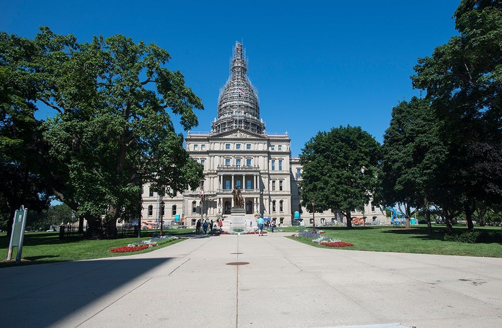 <p>The restoration of the Capitol building has a budget of approximately $6.5 million. The Christman Company also completed restorations on the building in the 1960s and from 1988-1992. Catherine Ferland/ The State News</p>