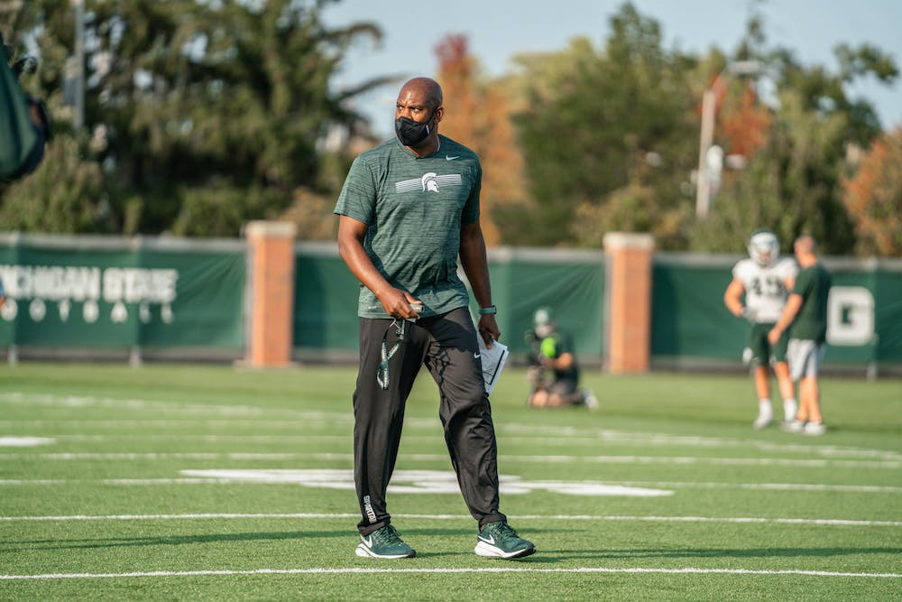 <p>Head football coach Mel Tucker prepares his team for the newly reinstated 2020 season at practice Sept. 21. Photo Courtesy of Michigan State Athletic Communications. </p>