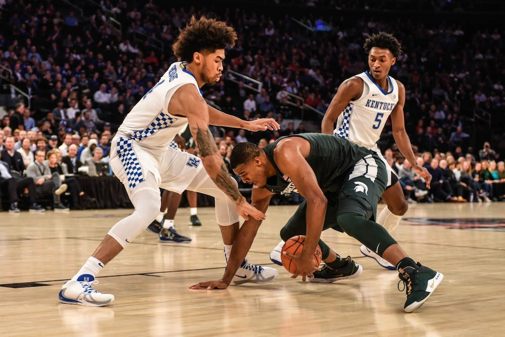 Junior forward Xavier Tillman (23) moves for the ball during the game against Kentucky at the State Farm Champions Classic at Madison Square Garden on Nov. 5, 2019. The Spartans fell to the Wildcats, 69-62.
